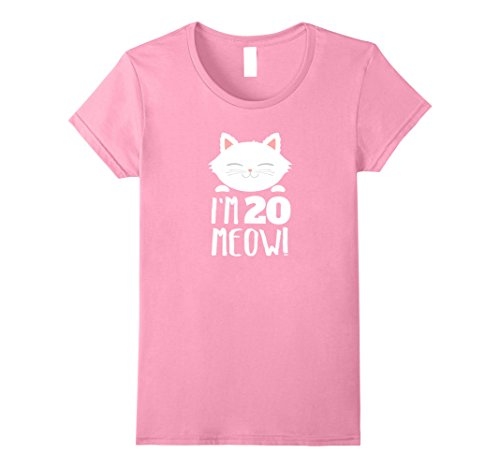 Womens Cat Birthday Gift Woman 20th Birthday: Age 20 Year Meow! Small Pink