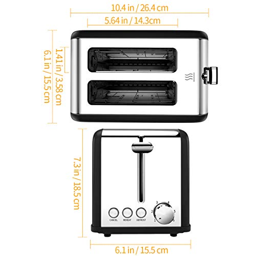 Toaster, Morpilot 2 Slice Toaster, with Extra-Wide Slot, Stainless Steel Toaster, with 6 Toasting Settings, for Fast and Even Toasting, Removable Crumb Tray, 815W