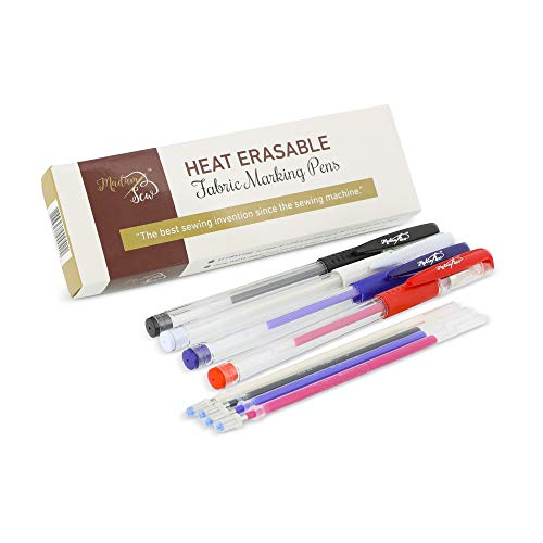 (Heat Erasable Fabric Marking Pens with 4 Refills for Quilting, Sewing and Dressmaking (4 Piece Set))