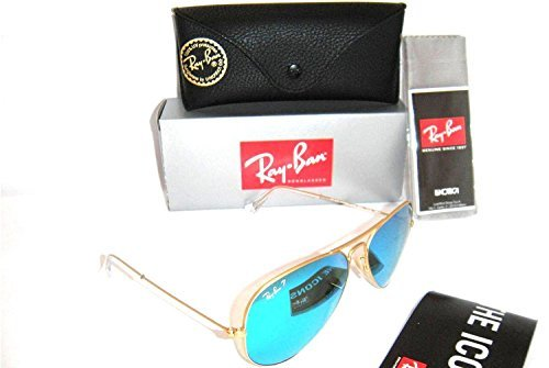 Ray-Ban Authentic Aviator RB 3025 112/4L 58MM Matte Gold / Blue Mirror - Ban Blue Aviator Green Ray