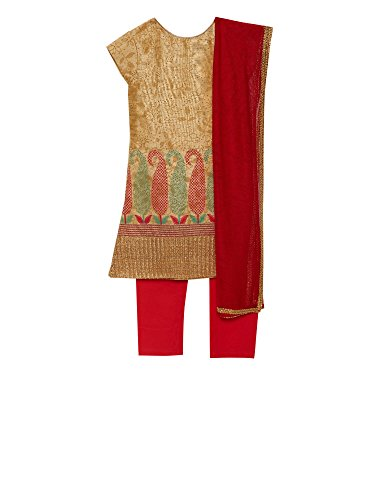 K&U Girls' Gold & Red Raw Silk Indian Salwar Kurta Set