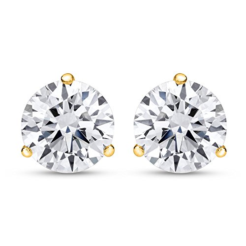 2 Carat Total Weight White Round Diamond Solitaire Stud Earrings Pair set in 14K Yellow Gold 3 Prong Push Back (H-I Color SI1-SI2 Clarity) by Chandni Jewelers