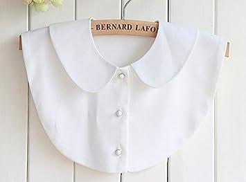 Shirtstyle Blanc Mode Vintage 3 Femme Amovible Faux Chemisier Col Élégante Poupée Demi uTlFKc13J5
