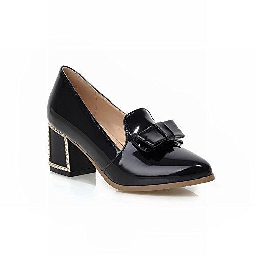 Carol Shoes Dolce Bowknots Delle Donne Graziose Scarpe A Punta Tacco Grosso A Punta Tacco Medio Nero