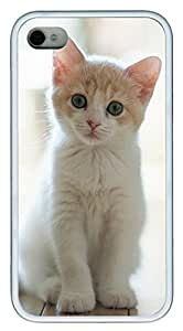 iPhone 4 4s Cases & Covers - Cute Cat Pics 04 Custom TPU Soft Case Cover Protector for iPhone 4 4s - White