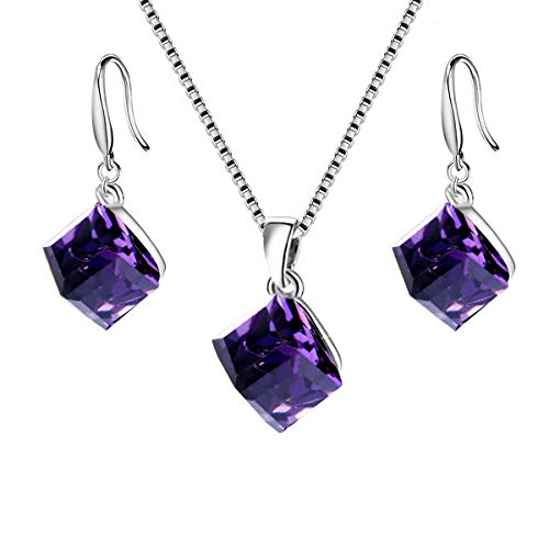 Austrian Swarovski Crystal Cube (Uloveido Women 925 Sterling Silver Square Cube Authentic Austrian Purple Crystal Pierced Dangle Earrings Pendant Necklace Sets (Box Packing) Y418-Purple-Set)