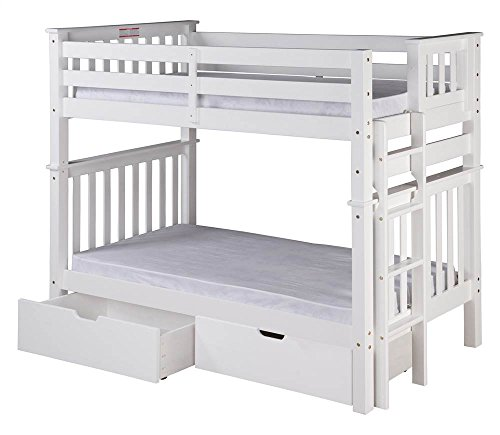 Camaflexi Santa Fe Mission Tall Bunk Bed End Ladder with Under Bed Drawers, Twin over Twin, White