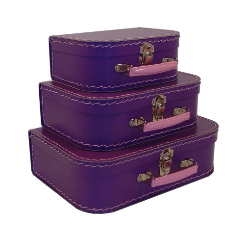 cargo Vintage Travelers Mini Suitcases, 3-Set, Purple, 10-Pack