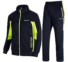 TBMPOY Men's 2 Piece Jacket & Pants Woven Warm Jogging Gym
