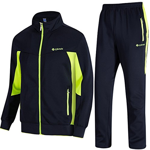 TBMPOY Men's Essential Running Top & Bottoms Set Long Sleeve Training Wear(Navy and Fluorescent Green,US XXL) (Mens Sports Wears)