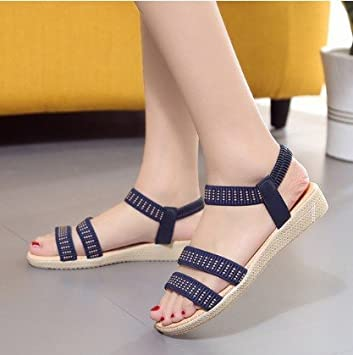 b30f13259123 Roman sandals sandals summer simple flat bottom fish fitting solid color  elastic band Rome blue 38