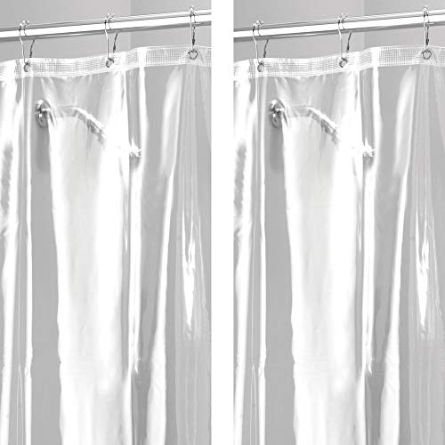 mDesign - 2 Pack - Extra Long Waterproof, Mold/Mildew Resistant, Heavy Duty Premium Quality 10-Guage Vinyl Shower Curtain Liner for Bathroom Shower Stall and Bathtub - 72