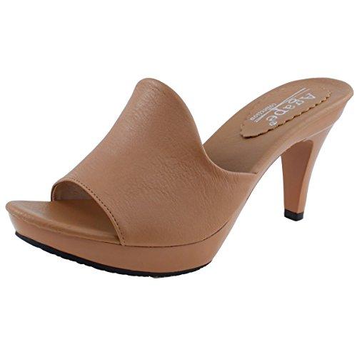 (Agape EVELYN-23 Platform Heel (8.5, Latte Brown) )