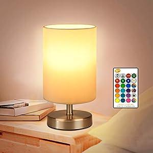 COOLWEST Lampe de Chevet RGB Blanc Chaud avec télécommande 5W Lampes de table LED Lampes Dimmable pour chambre à coucher…