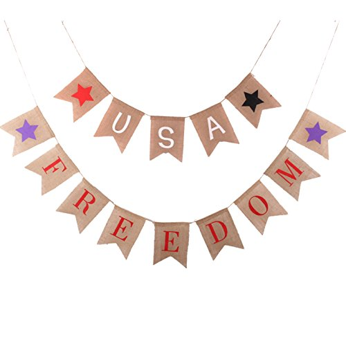 Burlap Freedom Bunting Banner for Patriotic Party Decorations, Welcome Home Soldier, Police Retirement Party Supplies, Independence Day SG014