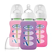 Dr. Brown's Options Wide Neck Glass Bottle in Silicone Sleeve, 9 Ounce, 3 Count, Pink/Purple