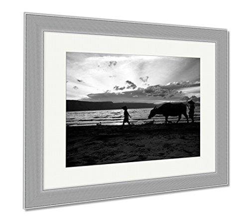 Ashley Framed Prints Silhouette Of Two Boys And A Cow Walking On A Sunset Beach In Indonesia, Contemporary Decoration, Black/White, 26x30 (frame size), Silver Frame, (Bali Silver Hat)