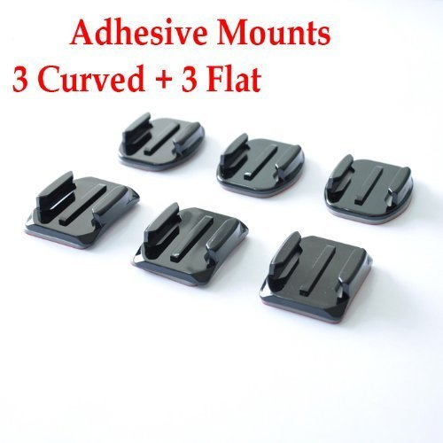 Adhesive Mounts for GoPro Hero Hero2 Hero3 Hero3+, 3 Curved