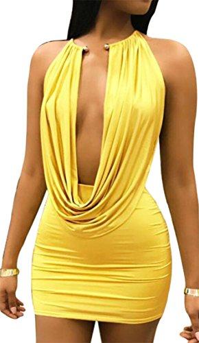 Neck Sexy Women Yellow Two V Piece Deep Slim Jaycargogo Stylish Dress gU0dxUn8
