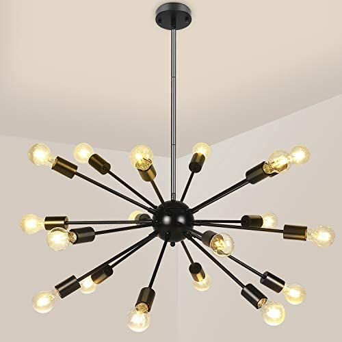 Sputnik Light Sputnik Chandelier 18 Lights Modern Ceiling Light Pendant Lighting Black