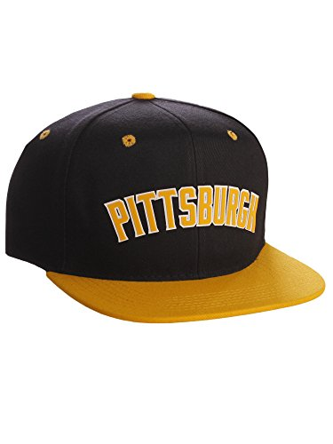 Original Snapback Custom American Cities State Letters Ajustable Flat Visor Cap (Pittsburgh Black Gold, White Gold)