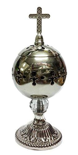 Handmade Silver Censer Polished Brass Jerusalem Church Incense Burner Distiller