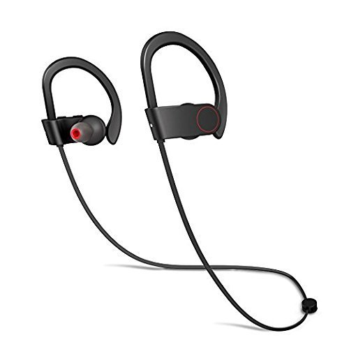 SMARTOMI Bluetooth Running Headphones Sport Wireless Earphones Soft Silicone Earhooks Noise Cancelling Loud Voice Stereo Headset with Mic Premium Bass Sound Sweatproof In-Ear Earbuds 10H Best for Gym