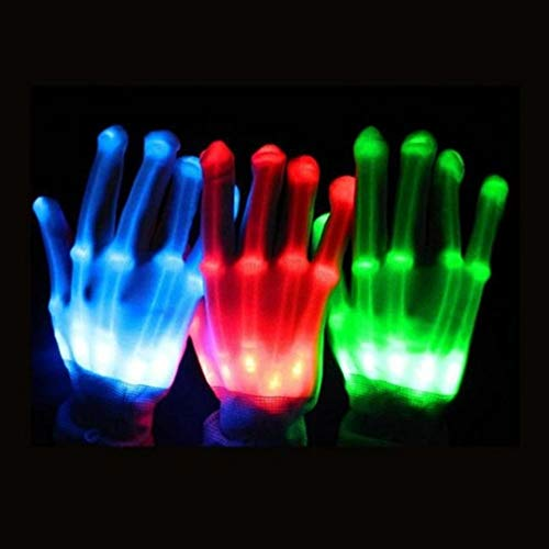 Box Cherry Light Up LED Flashing Skeleton Hand Gloves -