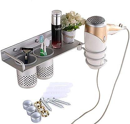 Hair Dryer Straightener Holder 2 Cups Wall Mount Bathroom Spiral Organizer