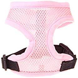 1PC Adjustable Soft Breathable Dog Harness Nylon Mesh Vest Harness for Dogs Puppy Collar Cat Pet Dog Chest Strap Leash Pink XS