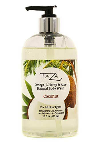 (Premium Taza Natural Omega-3 Hemp & Aloe Coconut Body Wash, 16 fl oz ♦ For Soft Smooth Skin ♦ Contains: Omega-3 Hemp Seed Oil, Aloe Seed Juice, Chamomile Flower, White Willow Bark Extract)
