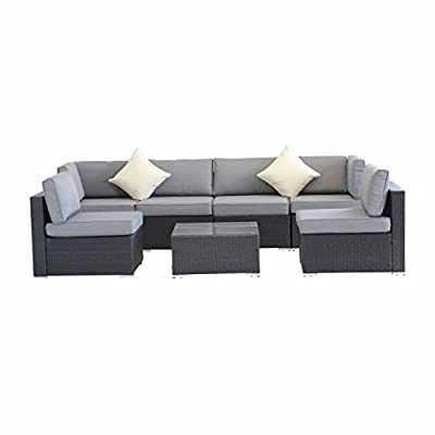 Outdoor Patio Garden Furniture PE Rattan Wicker Sofa Sectional Sofas Furniture Cushioned All-Weather Deck Couch Set w/Grey Cushions(Black,7 Piece)