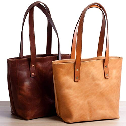 - Bellingham Leather Tote Bag for Women, Wickett & Craig Full-Grain Leather, Monogrammed Tote Handbag for Women with 11