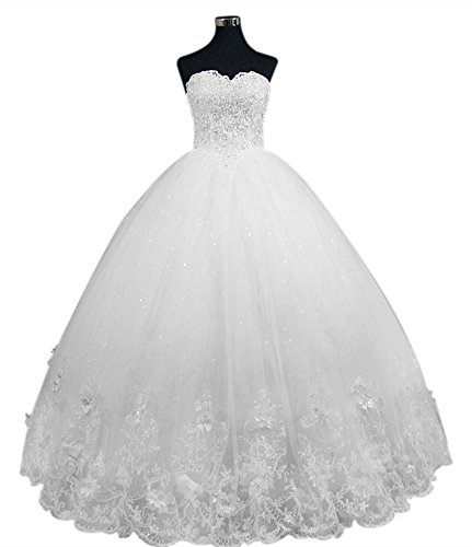 Jeweled Ball Gown Wedding Dresses: XJLY Princess Bling Strapless Crystal Beaded Applique Lace