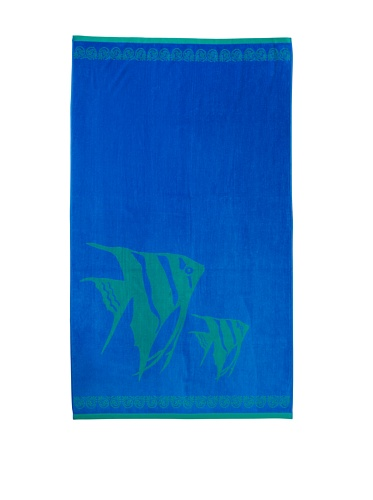 (Chortex Beach Towels %100 Turkish Cotton, Extra Soft, Absorbent, Thick (450 Gsm)(Angel Fish Beach Towel Blue))