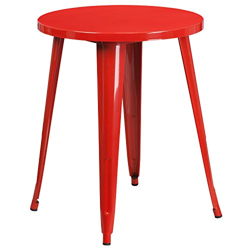 Metal Retro Round Table - Flash Furniture 24'' Round Red Metal Indoor-Outdoor Table