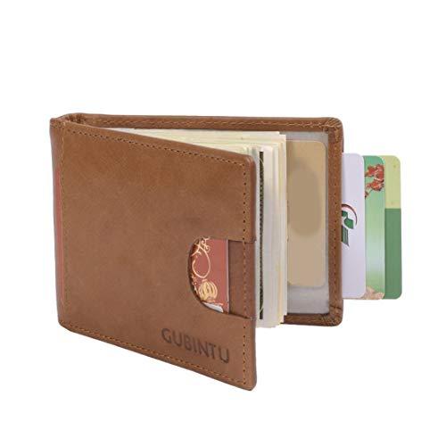 cartes Véritable color Porte Cuir Black Pour Rfid Or magnétique Anti Gubintu Ploekgda Coffee En EZg61Uq
