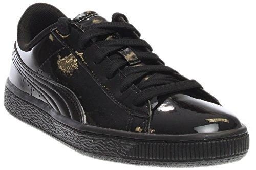 (PUMA Boys' Basket Classic Patent JR Sneaker, Black Black, 6 M US Big Kid)