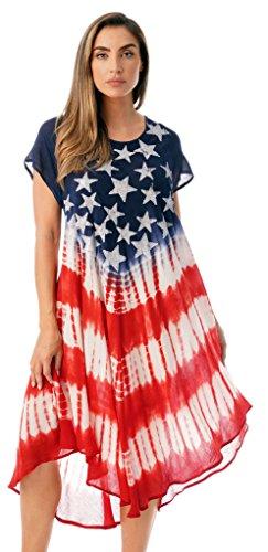 Riviera Sun 21871-1X American Flag Dress/USA Summer Dresses]()