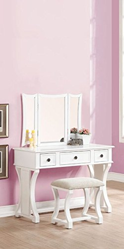 Amazing Poundex Bobkona Edna Vanity Set With Stool White Gamerscity Chair Design For Home Gamerscityorg