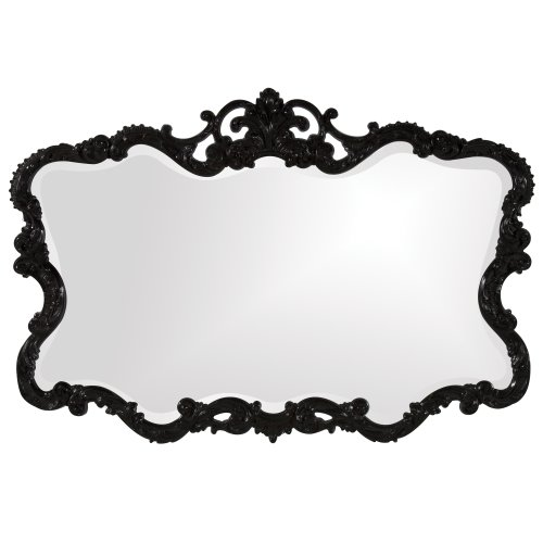 Howard Elliott Talida Mirror, Ornate Wall Focal Point, Resin Frame, Black, 27 Inch x 38 Inch x 1 Inch