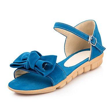 Sandalias Primavera Verano Otoño D'Orsay & Oficina de lana de dos piezas & Carrera parte & Vestido de Noche Bowknot talón plano Blue
