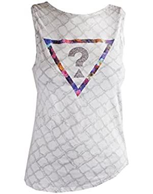 Guess Light Grey Sleeveless Inside Print Muscle Tee XS