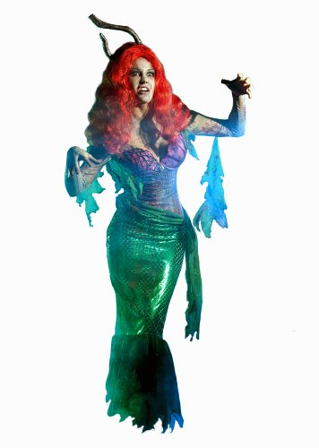 Party King Mermaid Zombie Women's 3 Piece Costume Dress Set, Green, Large -