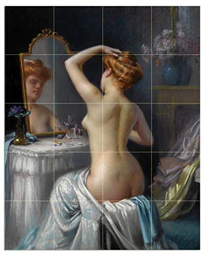 Tile Mural Girl at The Mirror by Delphin Enjolras Nude Woman Flowers -