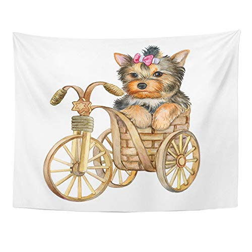 Emvency Tapestry Wall Hanging Cute Puppy Yorkshire Terrier in Basket White The Dog is on Bicycle Watercolor 60
