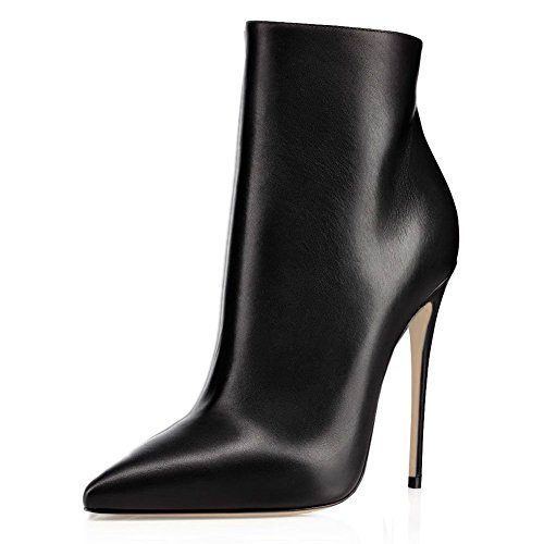 JOOGO Pointed Toe Ankle Boots Size Zipper Stiletto High Heels Party Wedding Pumps Dress Shoes for Women Black Leather Size 7 (Black Leather 7 Inch Heel)