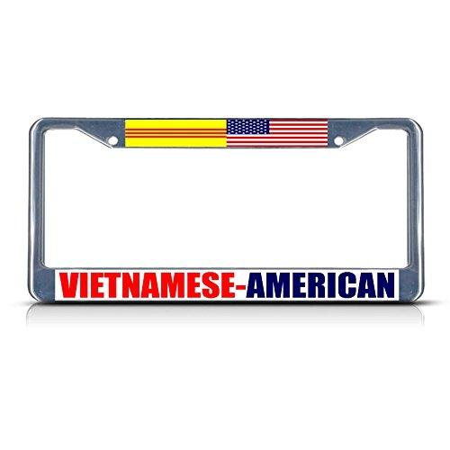 Vietnamese American Chrome Heavy Duty Metal License Plate Frame Tag Border Perfect for Men Women Car garadge Decor
