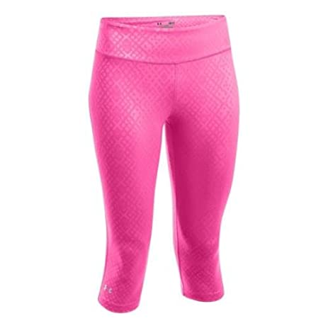 53a44015bed14 Under Armour HeatGear Sonic Women s Embossed Capri Running Tights - Small -  Pink