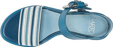 Franco Sarto Mujeres Carlazzo2 Sandal Blue Elastic Stripe / Vachetta Leather